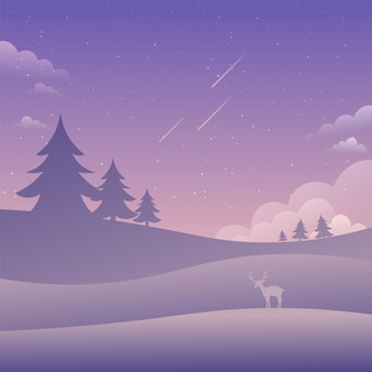 Purple sky landscape falling stars nature background flat style vector illustration