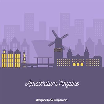 Purple skyline of amsterdam