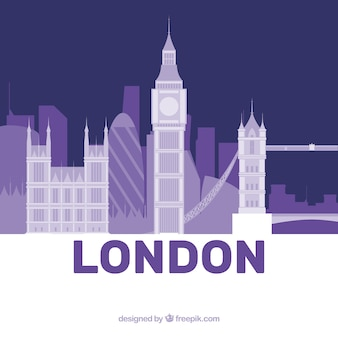 Purple skyline of london