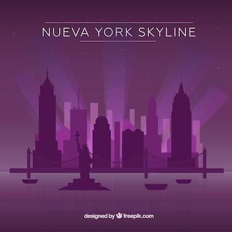 Purple skyline of new york