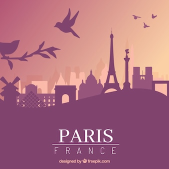 파리 디자인의 보라색 스카이 라인