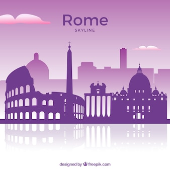 Purple skyline of rome