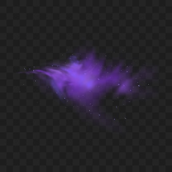 Purple smoke isolated . abstract purple powder explosion with particles and glitter. smoke hookah, poison gas, violet dust, fog effect.