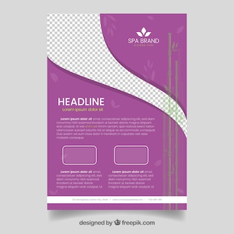 Purple spa and relax flyer template