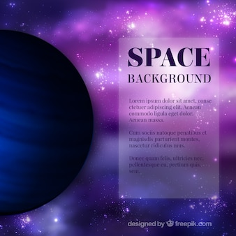 Purple space background with a planet