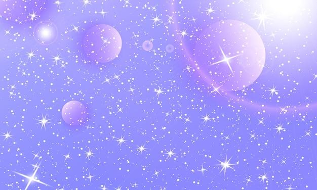 Фиолетовый сверкающий градиентный фон. вселенная фэнтези. космическая галактика. единорог узор. сказочный фон.