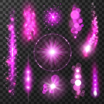 透明な背景に紫色のきらめく光の軌跡