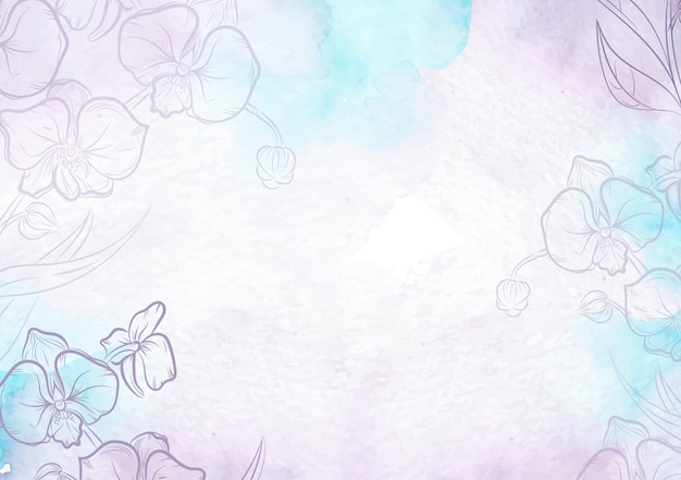 Purple splash and hand drawn flowers watercolor background