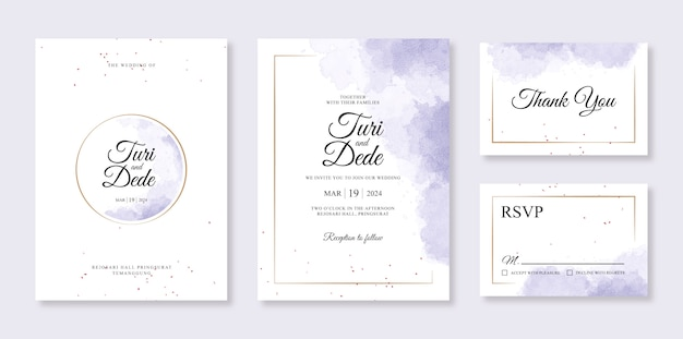 Purple splash watercolor painting for a beautiful wedding card invitation template