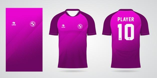 팀 유니폼과 축구 티셔츠 디자인을 위한 보라색 스포츠 저지 템플릿