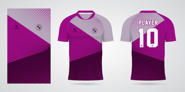 Purple sports jersey template for team uniforms and soccer t shirt design