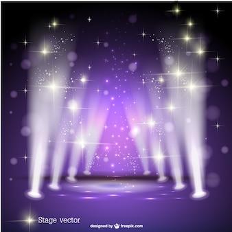 紫色のスポットライトステージベクトル