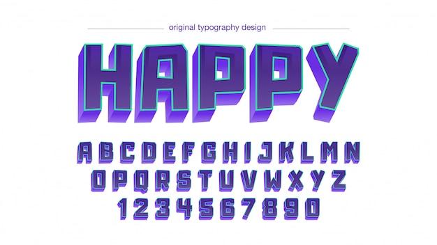 Purple square irregular comic cartoon typography