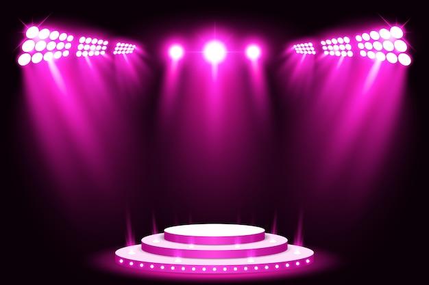 Purple stage light podium spotlight with red carpet