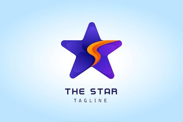 Фиолетовая звезда с буквой s градиентный логотип