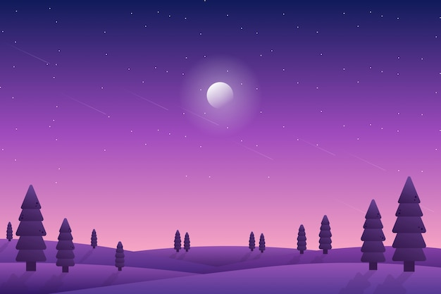 Purple starry night sky landscape with pine forest illustration