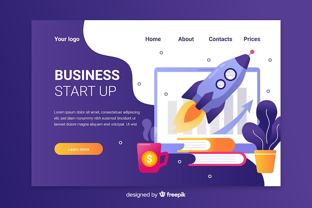 Purple start up landing page with spaceship in charts