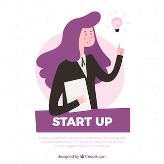 Purple startup concept with woman