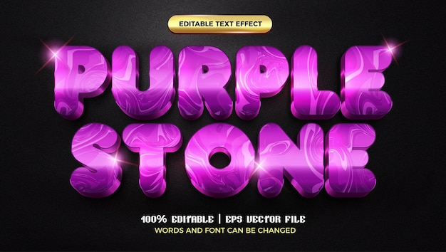 Purple stone marble luxury 3d editable text effect style template