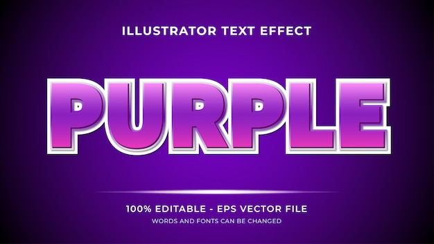 Purple style effects editable text