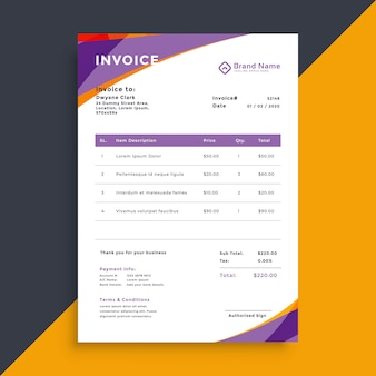 Purple stylish business invoice template