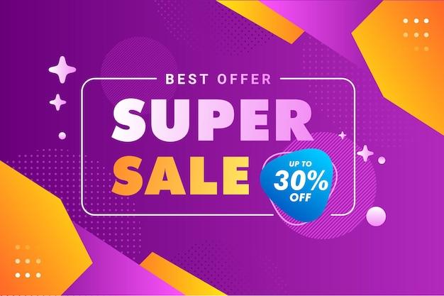 Purple super sale banner template premium vector