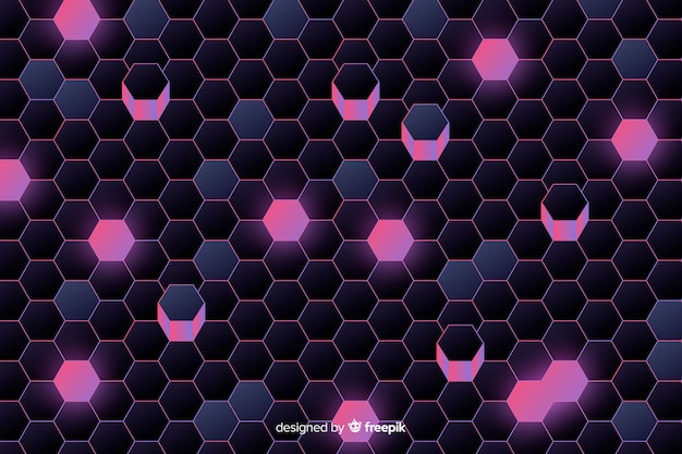 Purple technological honeycomb background