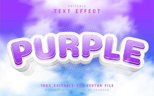 Purple text effect cartoon style