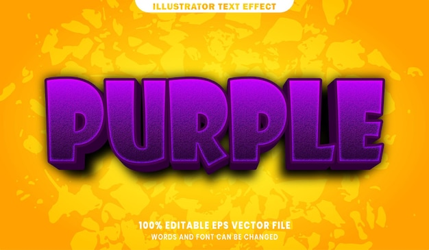 Purple text, font style editable text effect