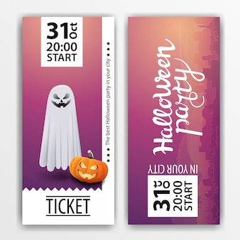 A purple ticket for the halloween party