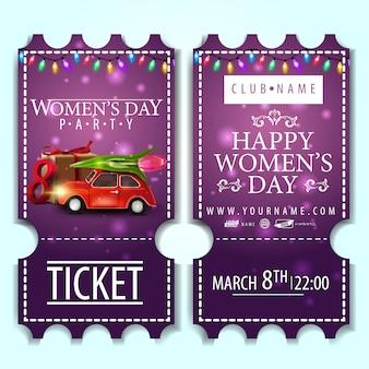 Фиолетовый билет на женский день вечеринки с машиной с тюльпаном