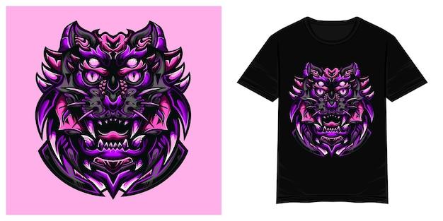 Фиолетовый тигр монстр векторная иллюстрация футболки
