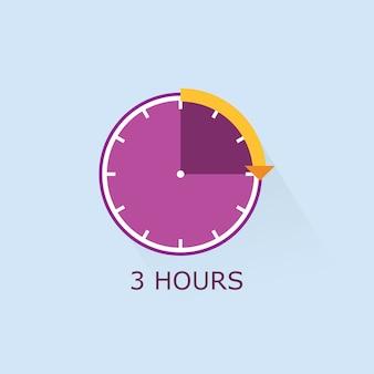 Purple timer icon with orange distance arrow