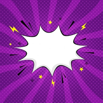 Purple transparent background with boom comic book explosion, speech bubble