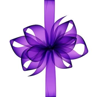 Фиолетовый прозрачный лук и ленты вид сверху крупным планом изолированного на белом фоне