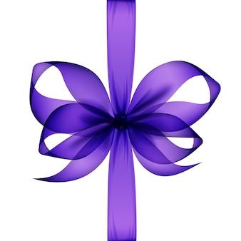 Фиолетовый прозрачный лук и ленты вид сверху крупным планом изолированы.