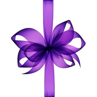 Фиолетовый прозрачный бант и лента