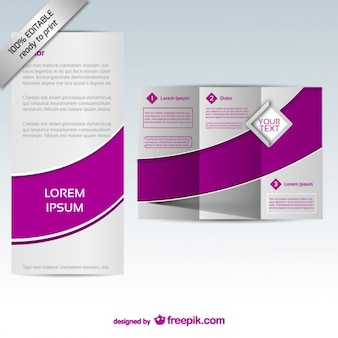Purple tri-fold brochure template