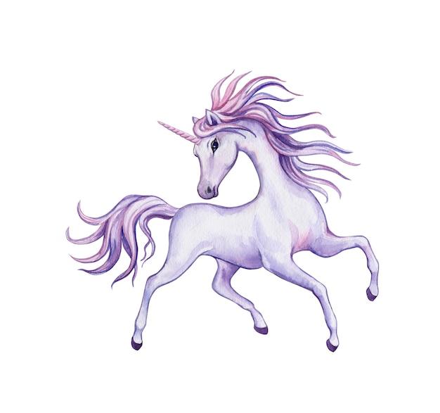 白地に紫のユニコーン。水彩イラスト