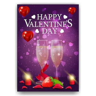 Purple valentine's day cover with gift glasses of champagne