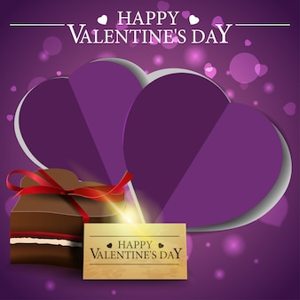 Purple valentine's day greeting card with chocolate candy
