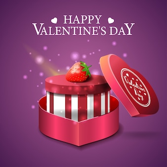 Purple valentine's day greeting card with gift and strawberry