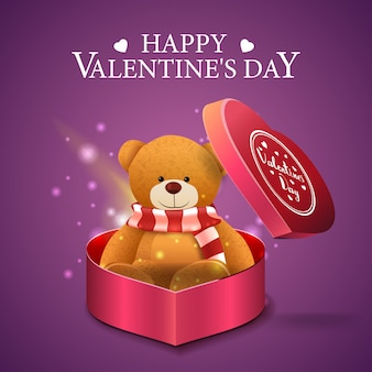 Purple valentine's day greeting card with teddy beer