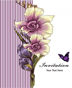 Purple vintage stripes invitation