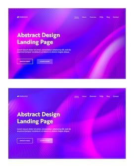 紫紫抽象的な波形着陸背景セット。未来的なデジタルモーショングラデーションパターンデザイン。ウェブサイトのウェブページの液体の壁紙の背景。フラット漫画ベクトルイラスト