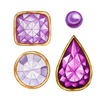 Фиолетовый фиолетовый кристалл в золотой оправе и иллюстрации ювелирных бусин