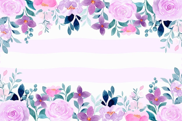 Purple violet floral background with watercolor