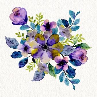 수채화와 보라색 보라색 꽃 꽃다발