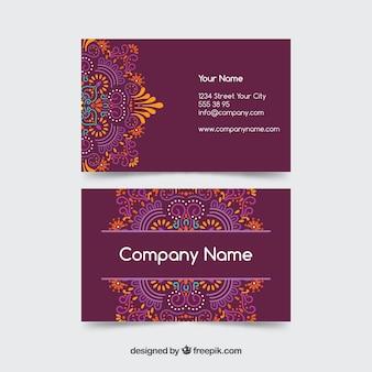 装飾的な曼荼羅と紫の訪問カード