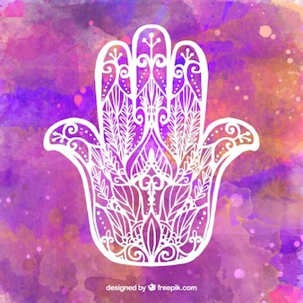 Purple watercolor background with hand drawn amulet